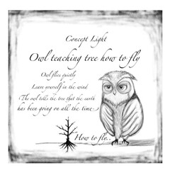 暮らし 【木に飛び方を教えるふくろう】  ふくろ…