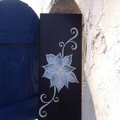 アート/モルタル造形/大津市 モクプラボードに挿絵  ブルー木の扉