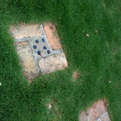 ガラス玉/ステップ/芝/大津市 お庭の飛び石 ガラス玉埋め込みでキラキラ