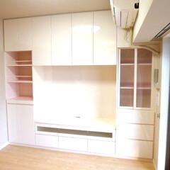 壁面収納棚/AV収納/カラーピンク/カラーメラミン 壁面収納棚の製作依頼を頂きました。 真ん…