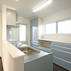 キッチン/カップボード/ブルー/かわいいキッチン/岩手/施工例/... 伸和ハウスの施工例です。 キッチンは奥様…