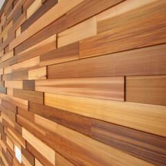リビング/アクセント壁/パッチワーク/凸凹/米杉/板張り/... アクセントの板張りがおしゃれな家  壁面…