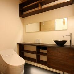 トイレ/トイレ収納/手洗い器/おしゃれボウル/ボウル/棚収納/... 注文住宅だからできた欲しい場所への造り付…(1枚目)