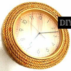 ホームセンター/麻紐/麻/壁掛け時計/DIY/雑貨/... 安くて普通の壁掛け時計に 麻紐をぐるぐる…