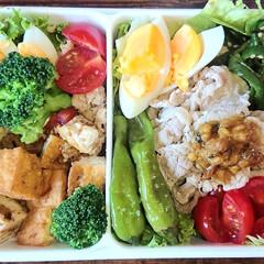 野菜弁当/炭水化物オフ/弁当日記/ダイエット弁当 右:豚しゃぶサラダ、ピーマン塩昆布 左:…