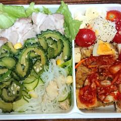 ラー油/炭水化物オフ/弁当日記/ダイエット弁当 右:厚揚げキムチ和え、トマトと卵とチーズ…