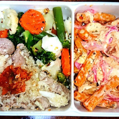 野菜弁当/弁当日記/ダイエット弁当 右:マカロニをトッポギ風に味付けて、赤玉…