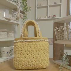 """ピコット風/リフ編み/かぎ針編みの小物/かぎ針編み/ちょっとそこまでバッグ/セリア/... リフ編みの""""ちょっとそこまでバッグ""""です…"""