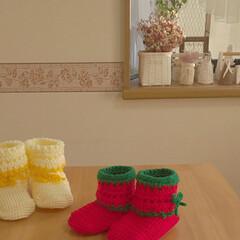 クリスマス/ブーツ型靴下/雑貨/ハンドメイド/住まい/暮らし/... ブーツ型の靴下クリスマスバージョンを編み…(2枚目)