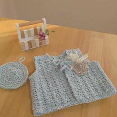 かぎ針編みのくまのモチーフ/かぎ針編みの小物/かぎ針編みのベスト/雑貨/ハンドメイド チョッキ完成しました😊  くまのモチーフ…