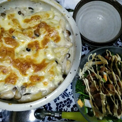 グラタン/ブロッコリー/フード 昨日の晩御飯😋 寒さがぶり返したのでグラ…