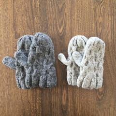 ミトン/手袋/手編み/手芸/おでかけ/ハンドメイド こどもたち用のミトン  アラン編み くさ…