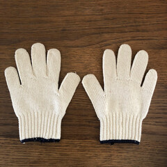 リサイクル糸/生成り/手袋/軍手/わたしのお気に入り オフホワイトのかわいい軍手(こども用)見…