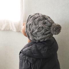 手紡ぎ/アランニット/アラン/編み物大好き/編み物/冬/... アラン編み  帽子 ちょっと複雑に見える…