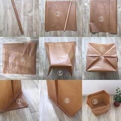 ワックスペーパー/ペーパーバッグ/収納用品/ハンドメイド/雑貨/100均/... ミシンを使って紙袋を作る  ① 紙、大き…