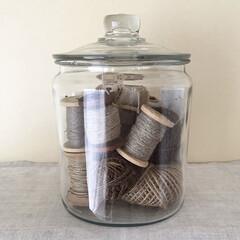 糸/アンカーボッキング/収納/雑貨/ハンドメイド/雑貨だいすき アンカーボッキングのジャー 以前はお米を…