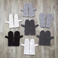 ミトン/アラン/アランニット/手袋/冬/ハンドメイド/... アラン編みのミトンズ 全部違う模様 アラ…