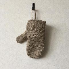 バスミトン/編み物/リネン/バスタイム/手芸/雑貨/... 手紡ぎリネンのバスミトン  フラックスの…
