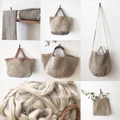 バッグ/編み物/リネン/フラックスの繊維/手芸/ハンドメイド フラックスの繊維を紡いで編んだものたち。…