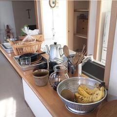 後片付け/キッチンカウンター/洗い物/朝ごはん/キッチン雑貨/キッチン/... キッチンカウンター朝の風景  一食終わる…