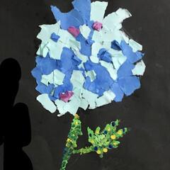 ちぎり絵/息子/6月/雨の日の紫陽花/雨季ウキフォト投稿キャンペーン 6月の息子工作 アジサイのちぎり絵 いち…