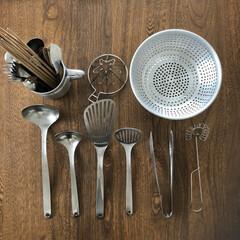 ビーター/レードル/アルマイトざる/柳宗理/キッチン雑貨/キッチン/... 大好きなキッチンツールたち。 道具類は、…