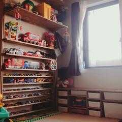 2×4材/ディアウォール/ラブリコ/1×4材/おもちゃ/おもちゃ収納/... 以前はカラーボックスを使用しておもちゃを…