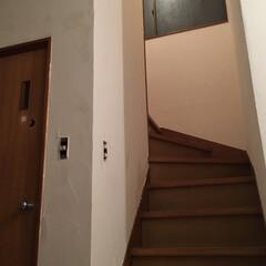 階段/玄関/漆喰DIY/練り済み漆喰/ホワイトアスパラ/ベジタウォール/... 漆喰塗り 3日目ー♪ 階段のほうき跡と指…