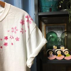 卒園/ステンシル/布用スタンプ/桜/Tシャツ/雛人形/... こんばんはー☆ 今日はセリア の 布用ス…