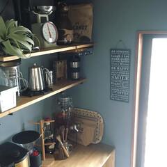 可動棚/梅酒/カフェコーナー/キッチン収納/キッチン雑貨/DIY/... こんにちは❣️ カフェコーナー に棚をひ…
