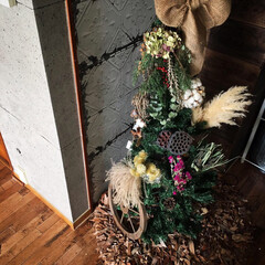 11月のツリー/ドライフラワーツリー/千日紅ドライ/すすき/ドライスワッグ/パンパスグラス/... 東京蚤の市戦利品 の コットンフラワーボ…
