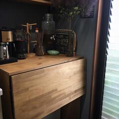 カフェコーナー/折りたたみ式棚受金具/DIY/キッチン収納 梅雨入りしましたね❣️ そんななか、今日…