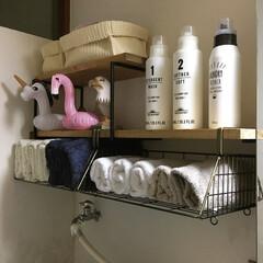 タオル収納/カインズ/洗面所収納棚/DIY/100均/ダイソー/... 新しく取り付けた  洗面所収納棚 には …