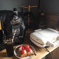 今日のおやつ/ワッフル/コストコ購入品/コールドブリューコーヒー/Vitantonio/キッチン雑貨 今日のオヤツ は ワッフル です❤️ や…