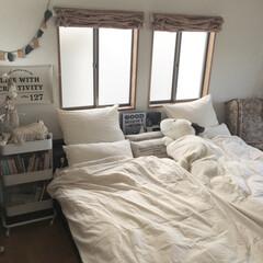 スヌーピー/寝具/革ガーランド/バスケットトローリー/山善/夏インテリア/... 夏用に寝具を生成りのコットンリネン に変…