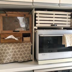 ティッシュケース/電子レンジ上置き/スノコDIY/スノコ/キッチン収納/収納/... 電子レンジをオーブンとして使用する時に、…