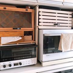 電子レンジ/棚/台所収納/セリア/スノコ/スノコDIY/... 前回アップした電子レンジの棚。 トースタ…(1枚目)
