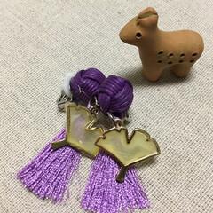 はにわ/イヤリング/紫と黄色 とにかく、いちようのパーツを使いたくて。…