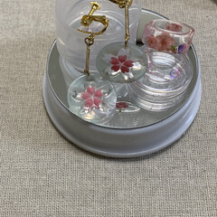 桜/ハンドメイド/ファッション/小さい春 開花宣言につられて、今日は、桜のイヤリン…