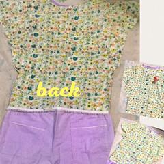 花柄/ファッション/ハンドメイド フリルスリーブブラウスとワイドパンツを作…