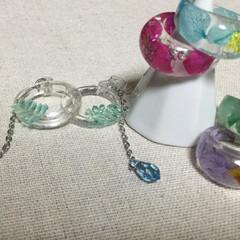 レジン/雑貨/100均/セリア/ダイソー/ファッション/... 押し花を使った指輪を作って欲しい、リクエ…