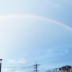 息子/傘/良いことがありますように/空/大きい/虹/... こんばんは☆  今日は朝からものすごい雨…