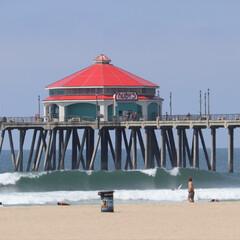 ハンティントンビーチ/西海岸/アメリカ/GW/おでかけ/旅行/... アメリカ西海岸 ハンティントンビーチの桟…