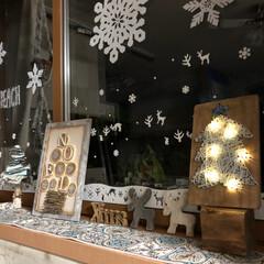テーブルランナー/窓デコ/クリスマス/100均/ダイソー/セリア/... 100均アイテムとニトリのテーブルランナ…(1枚目)