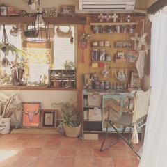 出窓/アトリエ/和室改造/DIY/雑貨/100均/... 和室6畳DIY  クッションフロア 壁面…(1枚目)