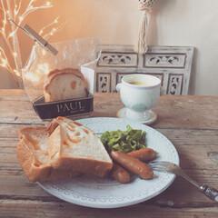ポーセラーツ/パン屋さん/PAUL/朝食/おうちカフェ/わたしのごはん/... わたしの幸せごはん  朝食 トーストアレ…