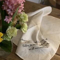 花のある暮らし/オリジナルロゴ/シルクスクリーン/シンプル/キッチンクロス/キッチン雑貨/... 〜キッチングッズ〜  キッチンクロス い…