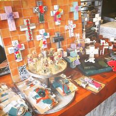 壁飾り/インテリア雑貨/メキシカンクロス/クロス/イベント出店/手作り/... ハンドメイド ウッドクロスを作ってイベン…
