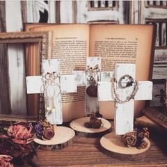 ドライフラワー/十字架/クロス/アクセサリースタンド/インテリア/雑貨/... accessorystand cross…