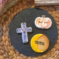 moon/クロス/カボチャ/ワークショップ/アイシングクッキー/ハロウィン/... ハロウィン🎃👻  アイシングクッキーのワ…